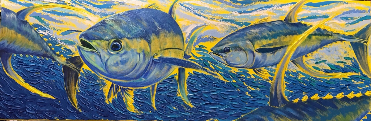 Ahi Run (sold), Acrylic on Canvas by Amy-Lauren Lum Won - Kauai fish art, Hawaii fish paintings