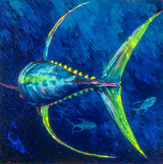 Ascension, Limited Edition giclee on canvas with mother of pearl and hand painted, Giclee Reproduction, Acrylic and Shell by Amy-Lauren Lum Won - Kauai fish art, Hawaii fish paintings