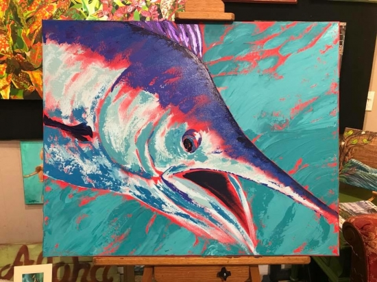 Billfish in Blue (sold), Acrylic by Amy-Lauren Lum Won - Kauai fish art, Hawaii fish paintings