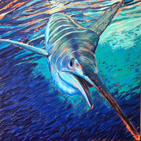 Coming in Hot, Acrylic by Amy-Lauren Lum Won - Kauai fish art, Hawaii fish paintings