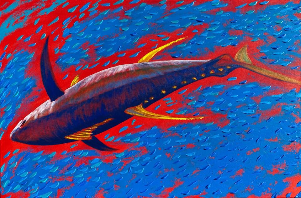 End Game, Giclee on canvas (ships rolled in a tube) by Amy-Lauren Lum Won - Kauai fish art, Hawaii fish paintings