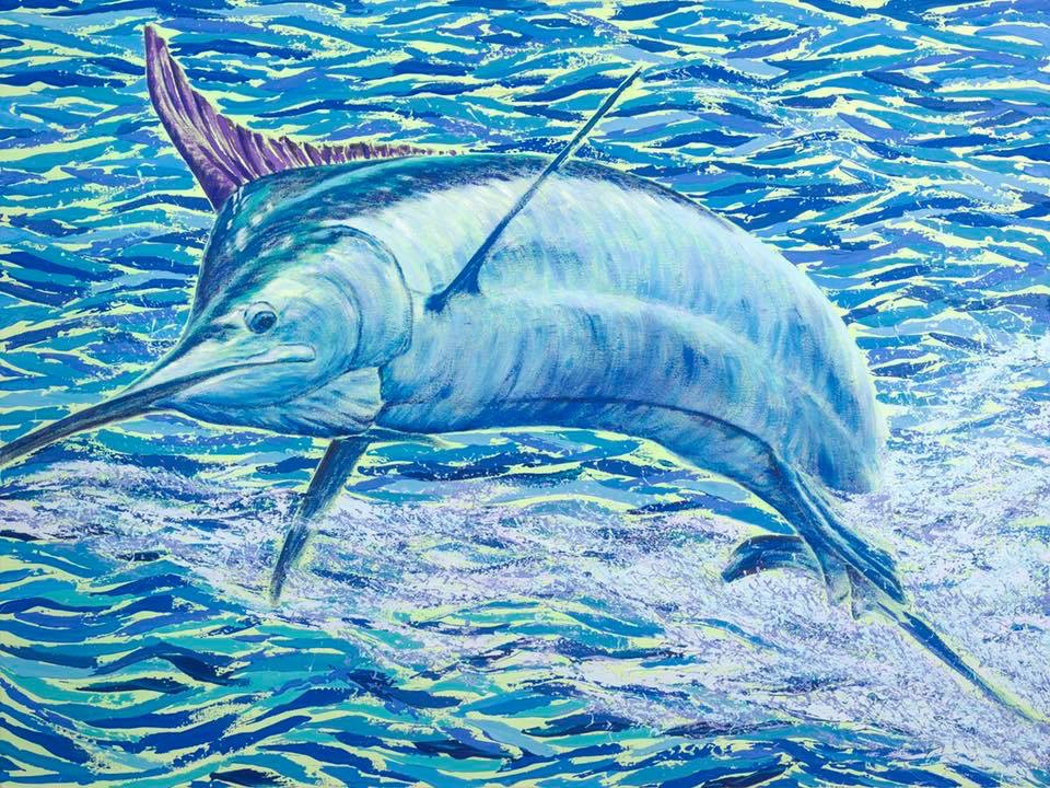 Fat Bottomed Girl (2019 Hawaii Marlin Tournament Series), Acrylic by Amy-Lauren Lum Won - Kauai fish art, Hawaii fish paintings