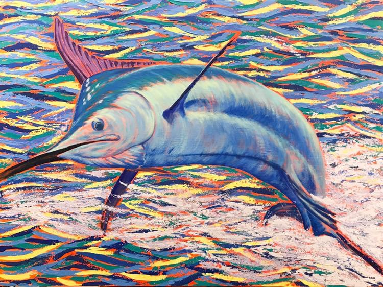 Fat Bottomed Girl II (2019 Hawaii Marlin Tournament Series), Acrylic by Amy-Lauren Lum Won - Kauai fish art, Hawaii fish paintings