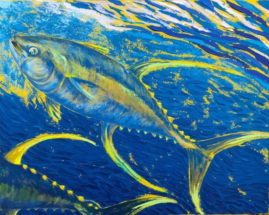 Gold Rush (sold), Acrylic by Amy-Lauren Lum Won - Kauai fish art, Hawaii fish paintings