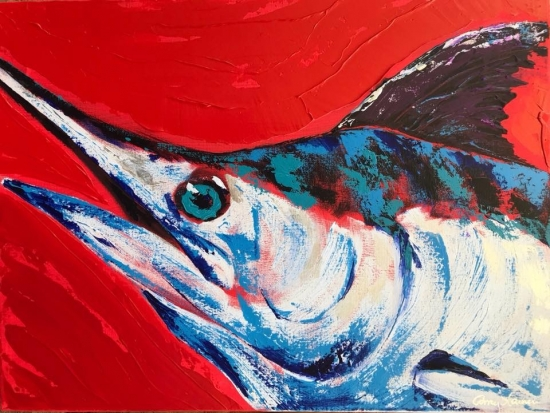 Makaira, Palette knife acrylic by Amy-Lauren Lum Won - Kauai fish art, Hawaii fish paintings