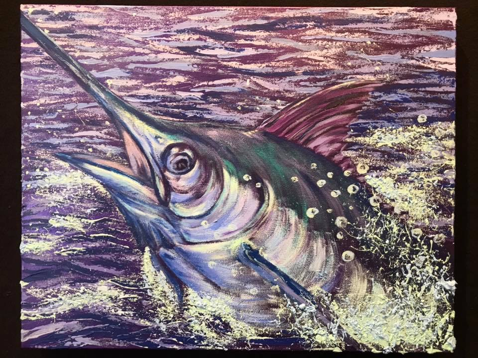 Melee Marlin II, Acrylic by Amy-Lauren Lum Won - Kauai fish art, Hawaii fish paintings