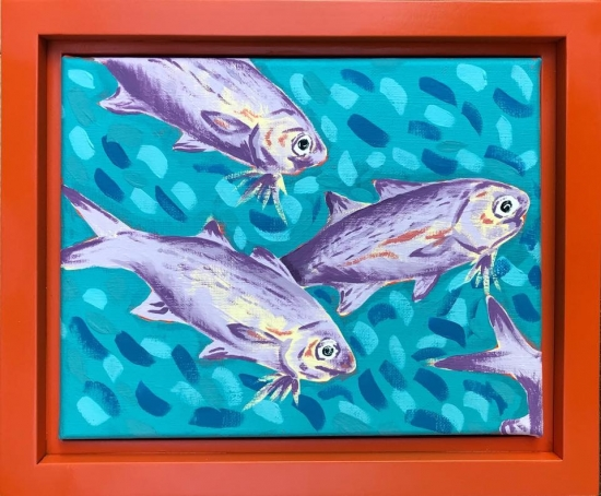 Moi School III (sold), Acrylic by Amy-Lauren Lum Won - Kauai fish art, Hawaii fish paintings