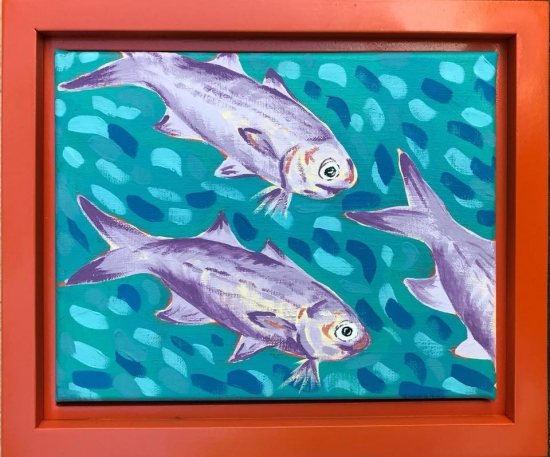 Moi School II (sold), Acrylic by Amy-Lauren Lum Won - Kauai fish art, Hawaii fish paintings