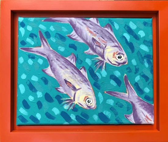 Moi School IV, Acrylic by Amy-Lauren Lum Won - Kauai fish art, Hawaii fish paintings