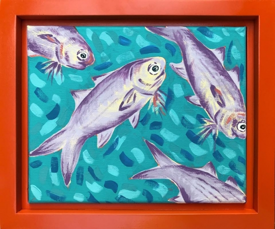 Moi School I (sold), Acrylic by Amy-Lauren Lum Won - Kauai fish art, Hawaii fish paintings