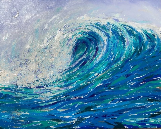 Moonlight Wave (sold), Shell and Acrylic by Amy-Lauren Lum Won - Kauai fish art, Hawaii fish paintings