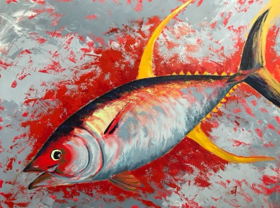 Pau (sold), Acrylic by Amy-Lauren Lum Won - Kauai fish art, Hawaii fish paintings
