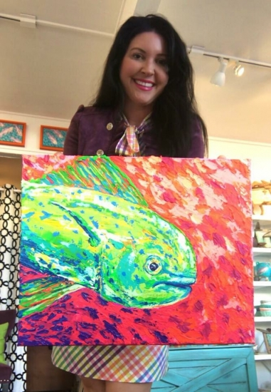She's a Hot Mess (sold), Acrylic by Amy-Lauren Lum Won - Kauai fish art, Hawaii fish paintings