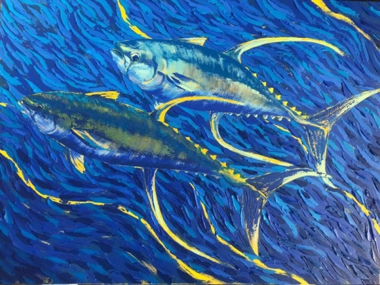 Sickles and Fins (sold), Acrylic by Amy-Lauren Lum Won - Kauai fish art, Hawaii fish paintings