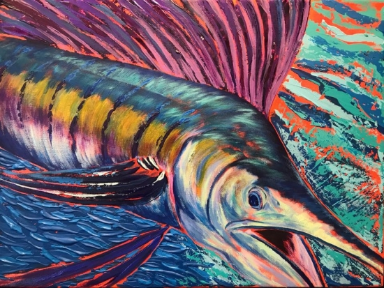 Sunset Sail II (sold), Mixed Acrylic and Shell by Amy-Lauren Lum Won - Kauai fish art, Hawaii fish paintings