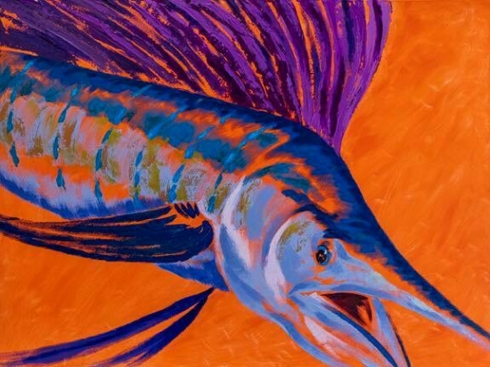 Sunset Sail (sold), Acrylic and Shell by Amy-Lauren Lum Won - Kauai fish art, Hawaii fish paintings