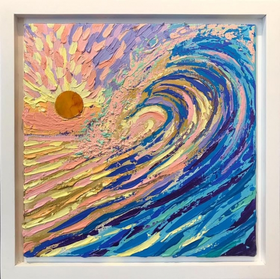Sunset Wave (sold), Acrylic and Shell by Amy-Lauren Lum Won - Kauai fish art, Hawaii fish paintings