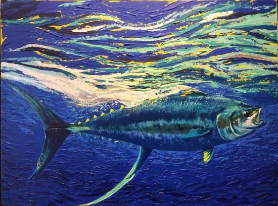 Surfacing (sold), Palette knife acrylic on canvas by Amy-Lauren Lum Won - Kauai fish art, Hawaii fish paintings